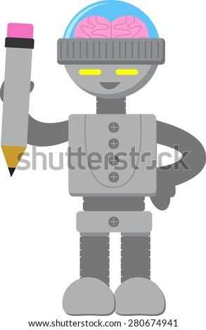Smart Robot with Pencil - stock vector