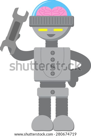 Smart Robot with Wrench - stock vector
