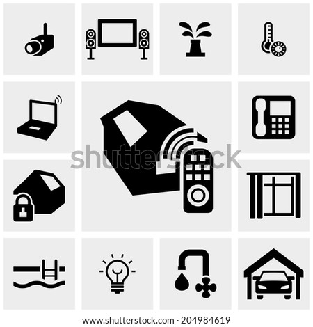 Smart systems vector icons set on gray.  - stock vector