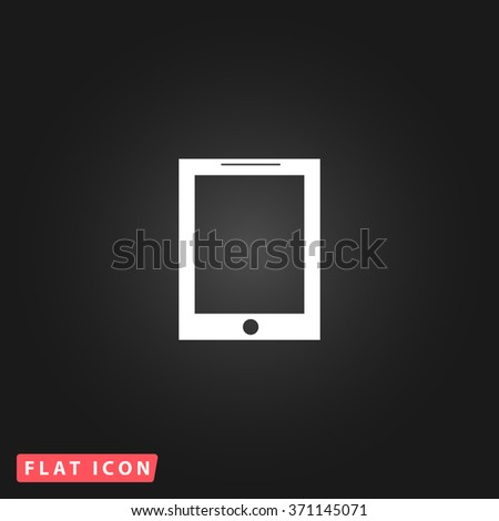 Smart tablet. White flat simple vector icon on black background. Icon JPEG JPG. Icon Picture Image. Icon Graphic Art. Icon EPS AI. Icon Drawing Object. Icon Path UI - stock vector