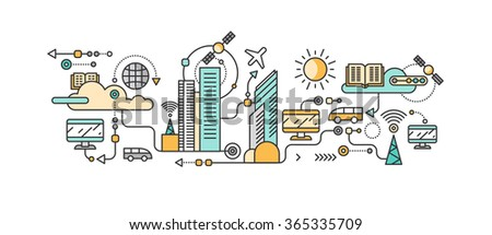 Smart technology in infrastructure city. Icon and network system, communication innovation town, connection and future, control information, internet. Smart industry city system development management - stock vector