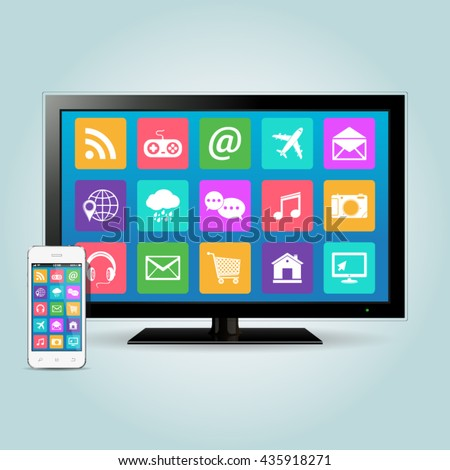 Smart TV and smartphone with app icons