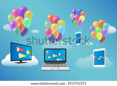 Smart TV,Laptop,Smartphone,and Tablet Floating with Fancy Balloon - stock vector
