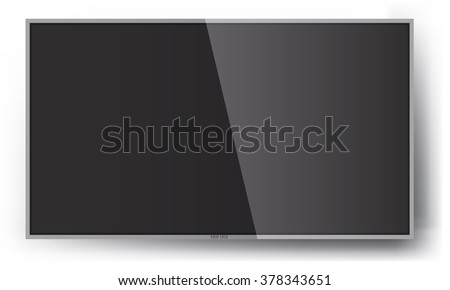 Smart TV Mock-up, Vector TV Screen, LED TV hanging on the wall.  - stock vector