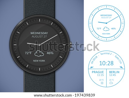 Smart watch application template. Weather forecast and airport departures app template - stock vector