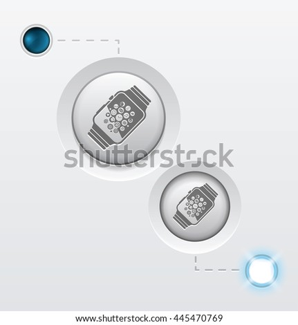 smart watch button icon on whtite background. GIF turn on and off vector illustration. EPS10. - stock vector