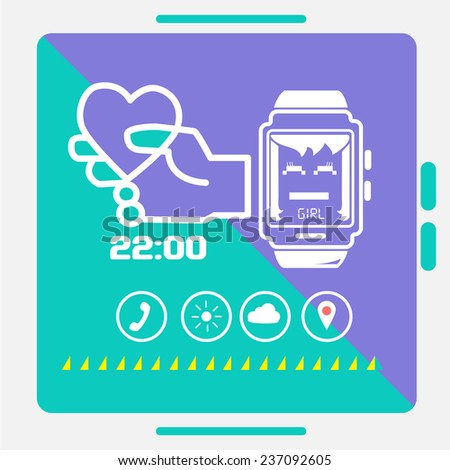 Smart watch concept style info graphics trend - stock vector