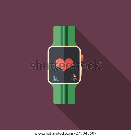 Smart watch flat square icon with long shadows. - stock vector