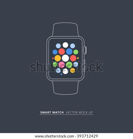 Smart watch gadget isolated flat style mock up on red background. Vector illustration.