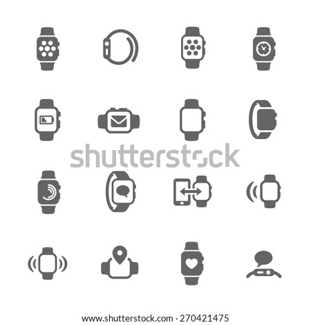 Smart Watch Icons - stock vector