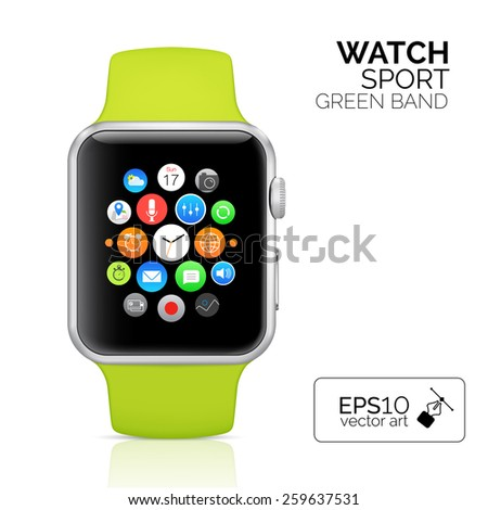Smart watch isolated on white background. Vector illustration - stock vector