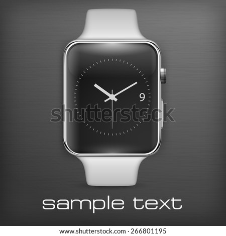 Smart watch on dark, vector illustration - stock vector