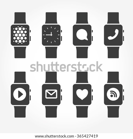 Smart watch phone icons. Vector illustration. - stock vector