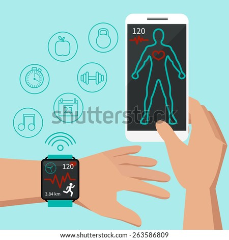 Smart watch technology concept, personal digital device on hand with mobile apps like phone calls, internet browsing, navigation, music and media player. Flat design modern vector illustration concept - stock vector