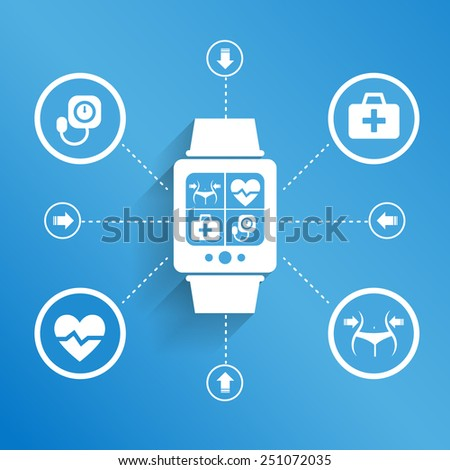 Smart watch wearable device for Health concept - stock vector