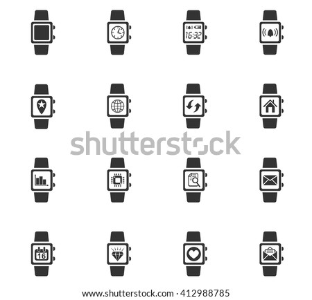 smart watch web icons for user interface design - stock vector