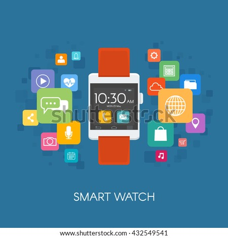 Smart watch with application icons.. Vector illustration in flat style.