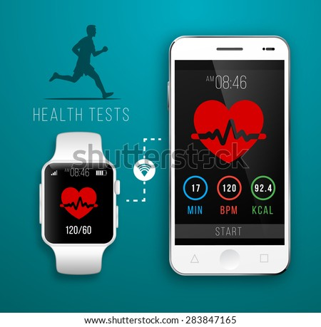Smart Watch with Fitness application for health. Synchronization of devices. Health test Illustration in flat style - stock vector