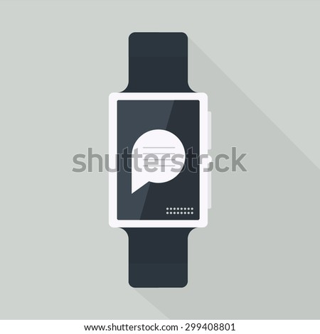 Smart watch with icons - stock vector
