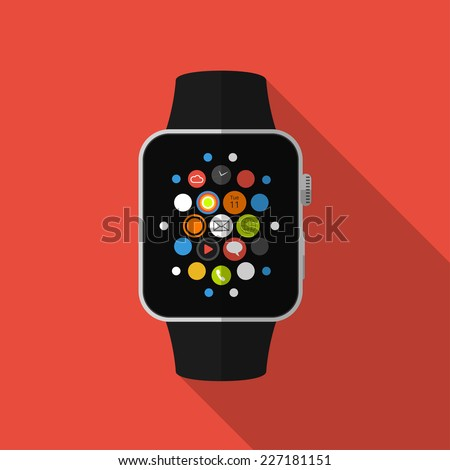 Smart watch with icons, flat concept with long shadow - stock vector