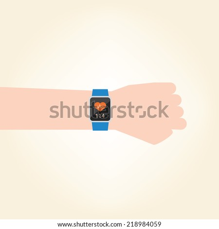 Smart watch with pulse rate measure - stock vector