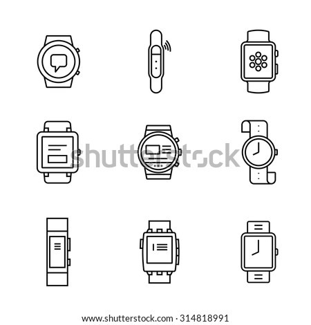 Smart watches linear icon set. Wearable electronic devices. Simple outlined icons. Linear style - stock vector