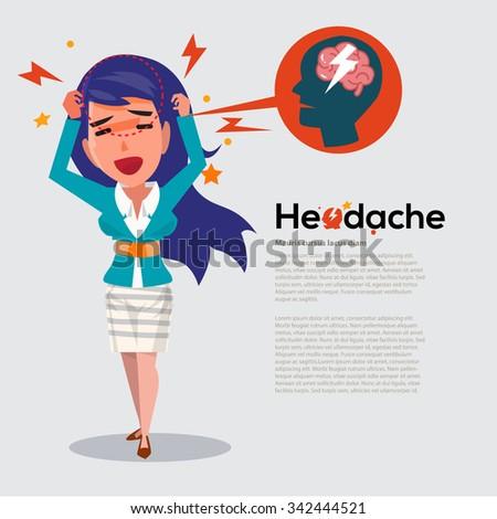 smart women get headache -  migraine concept - vector illustration - stock vector
