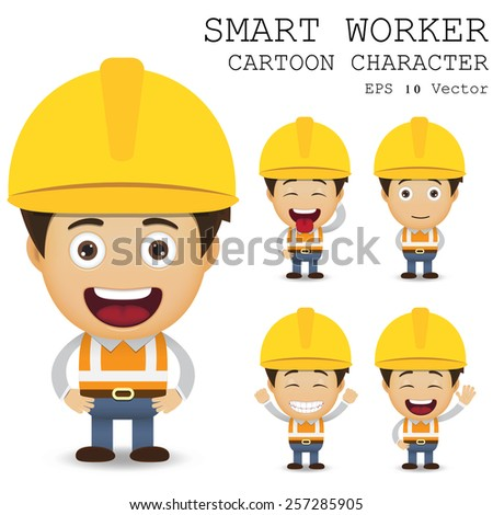 Smart worker cartoon character eps 10 vector illustration - stock vector