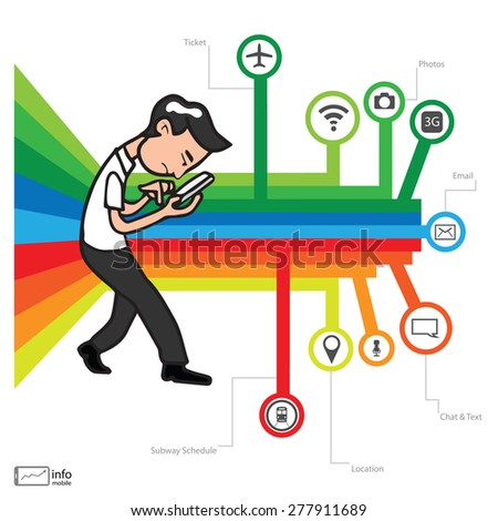 Smartphone addicted young man vector - stock vector