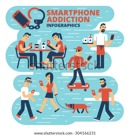 Smartphone Addiction Infographics - stock vector