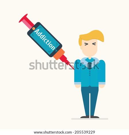 smartphone addiction. Vector illustration. - stock vector