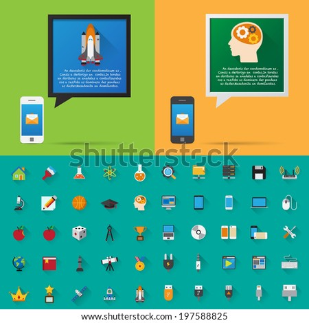 Smartphone alert and  flat icons collection . Set 4, Science & Education .Elements of this image furnished by NASA - stock vector