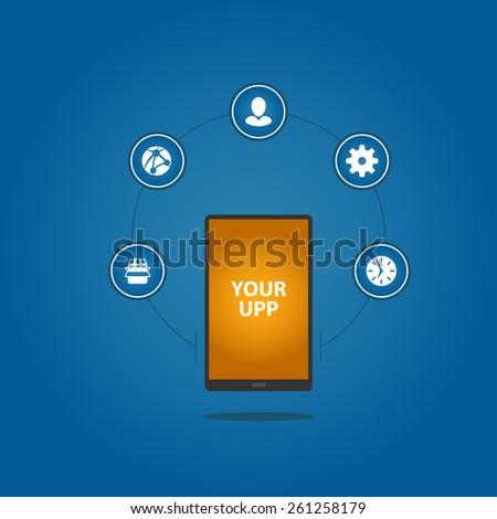 Smartphone and case icons - stock vector