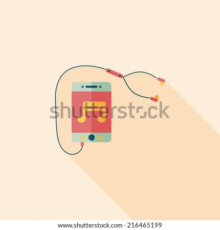 smartphone and headset flat icon with long shadow,eps10 - stock vector