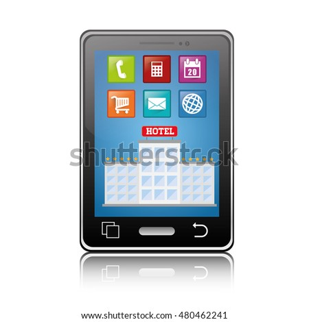 Smartphone and hotel building with apps icon set. Service technology media and digital theme. Colorful design. Vector illustration