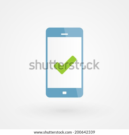 Smartphone and right icon - stock vector
