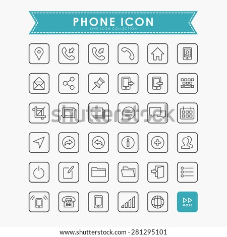 smartphone and web minimal line icons - stock vector