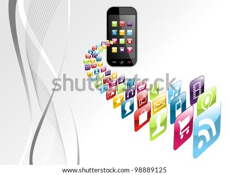 Smartphone application download on gray background. Vector file layered for easy manipulation and customisation. - stock vector