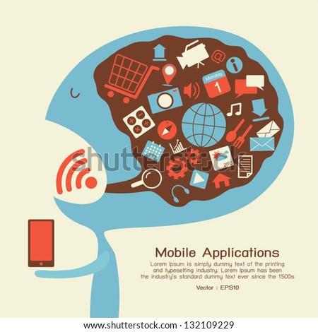 Smartphone application icon, vector - stock vector
