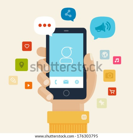 Smartphone apps flat icon design - Stock Illustration - stock vector