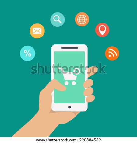 Smartphone apps infographics with a hand holding a phone with circular icons for shopping cloud computing mail wifi  search and route finder or maps - stock vector