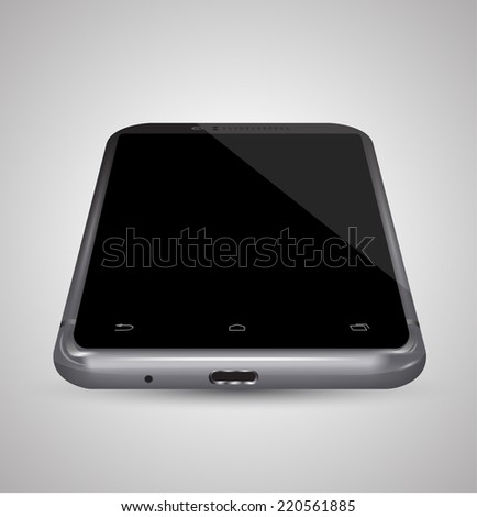 Smartphone black perspective view. Vector illustration. Can use for printing, website, apps element. background for application mockups and can place demo app,web,game on screen phone for sample. - stock vector