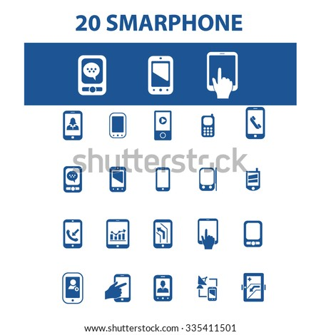 smartphone, cell, phone  icons, signs vector concept set for infographics, mobile, website, application  - stock vector