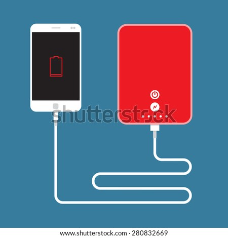 Smartphone charging connect to Power Bank - stock vector