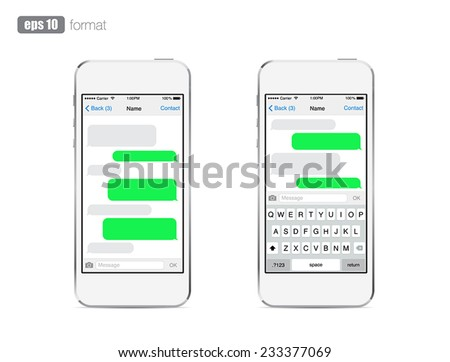 Smartphone chatting sms template bubbles. Place your own text to the message clouds. Compose dialogues using samples bubbles! Eps 10 format - stock vector
