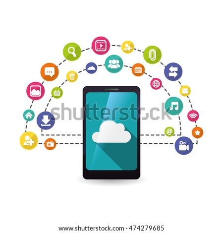 smartphone cloud mobile apps application online icon set. Colorful and flat design. Vector illustration
