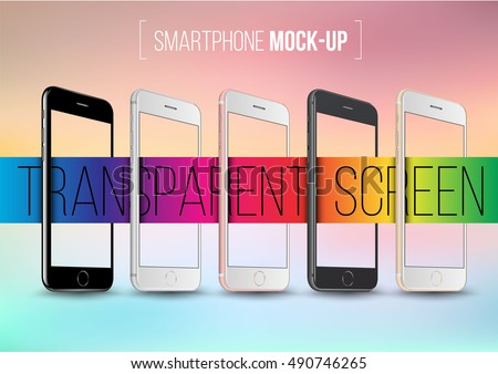 Smartphone collection mock-ups with transparent screen perspective on abstract background. Vector illustration for printing and web element, Game and application demo.