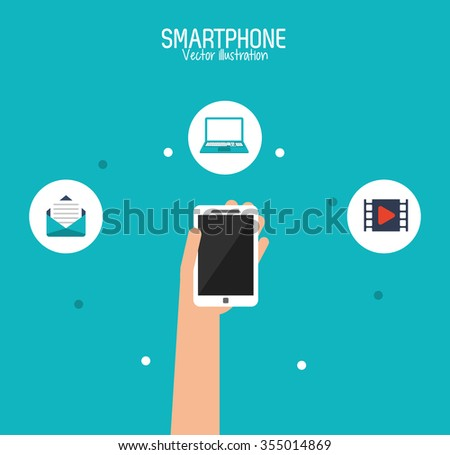 Smartphone concept with communication icon design, vector illustration 10 eps graphic.