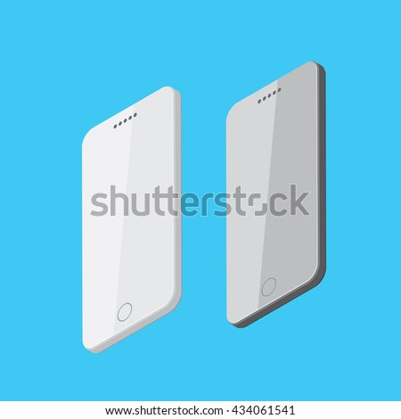 Smartphone device, Flat isometric in vector illustration format,  Touchscreen display, Modern technologies of communication.