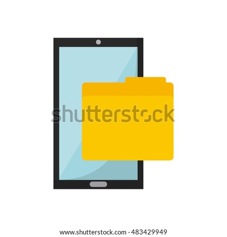 smartphone device with business icon vector illustration design